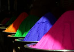 Coloured powder coating powder