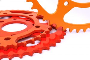 powder coated gear for industrial equipment orange red