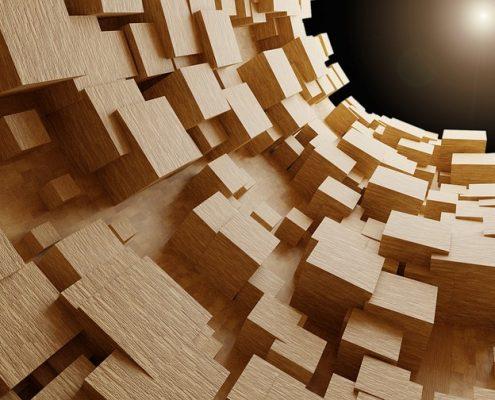 Wood-cubes-threedimensional