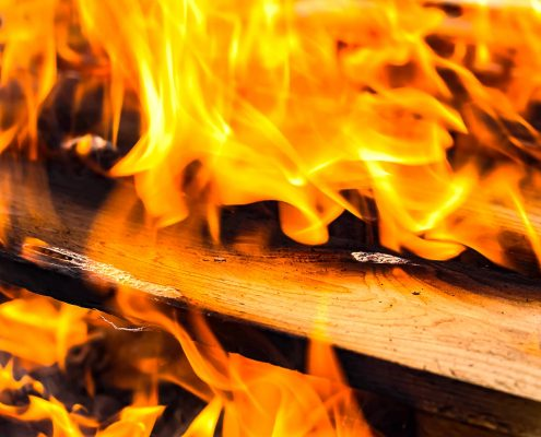 fire resistant coating on wooden sticks