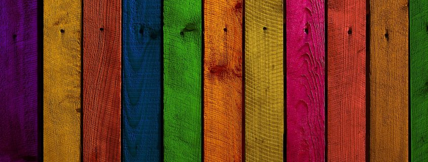 colorful wood coatings on a timber wall